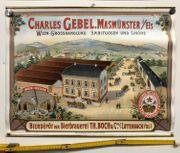 Altes Reklame Plakat Bier Wein