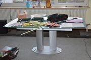 Tisch Metall Glas ausziehbar sehr