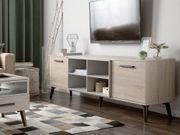TV-Möbel heller Holzfarbton grau rechteckig
