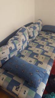 Schlafsofa Schlafcouch mit Bettkasten blau -