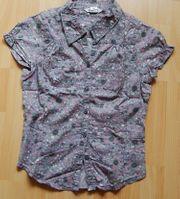 Bluse Gr 146 grau mit Streublümchen-Muster