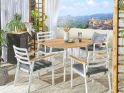 Gartentisch heller Holzfarbton weiß Aluminium