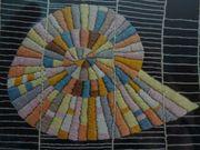 Textilkunst Stickerei Motiv Muschel am
