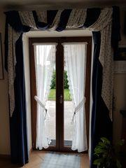 Vorhänge blau weiß für Bauernstube