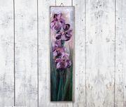 Ölgemälde Blumen auf Holzbrett