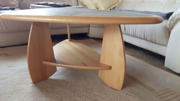 Tisch - Wohnzimmer-Couchtisch Holz mit Naturstein-Einlagen zu ...
