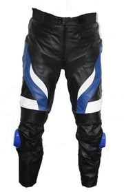 Motorradhose Rindsleder schwarz blau weiß