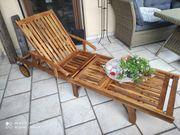 Massivholz Sonnenliege und Tisch Set