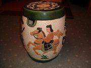 Asiatischer Keramikhocker-Keramik-Beistelltisch-Hocker-Vintage-Antik-Vintage