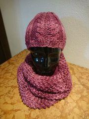 Mütze und Schal handgestrickt pink