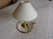 Lampe Tischleuchte Messingfuß Lampenschirm beige