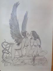Bleistiftzeichnung Fantasymotiv Wings 1993
