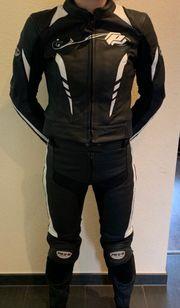 Probiker Lederkombi Motorrad schwarz weiss