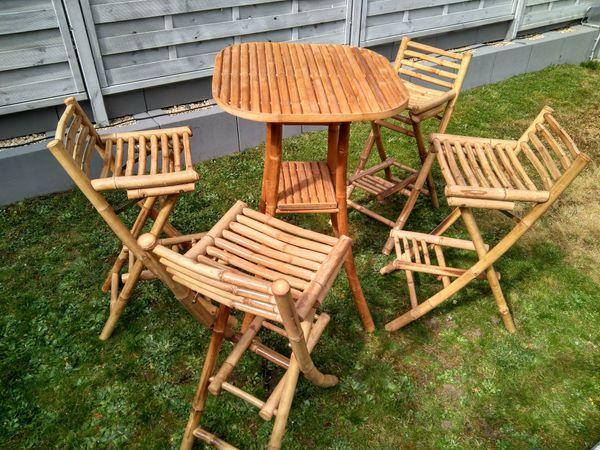 Bambusmöbel Bambusgarnitur Stehtisch Und Vier Barhocker In