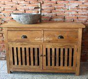 Waschtisch Kommode Schrank Holz Teak
