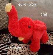 Euro-Play Elefant rot gelb Kuscheltier