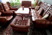 Salon-Sitzgruppe Echtleder für 6-8 Personen