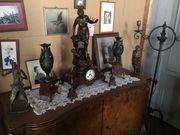 Kaminuhr Beisteller Bronzekrieger Kerzenständer Bronze