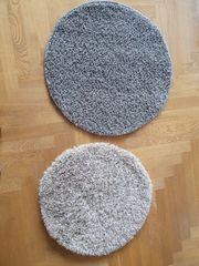 2x Teppich rund grau beige