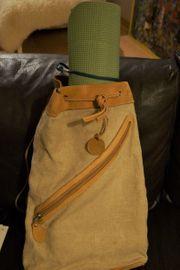 Leinen-Leder Match- Rucksack