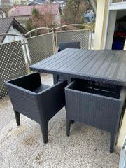 Terrassenmöbel Rattanoptik 1x Tisch 4x