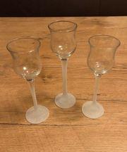 Kerzenhalter Eiskristallgläser Trio