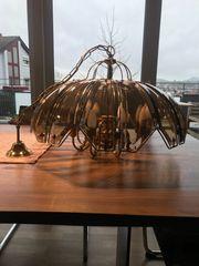70er Jahre Messing-Lampe mit Rauchglas