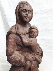handgeschnitzt Holzfigur Madonna mit Jesus
