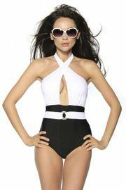 Vintage-Monokini Badeanzug gepaddet Gr XL