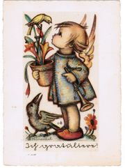 Postkarte Hummel Mädchen Trompete Rabe
