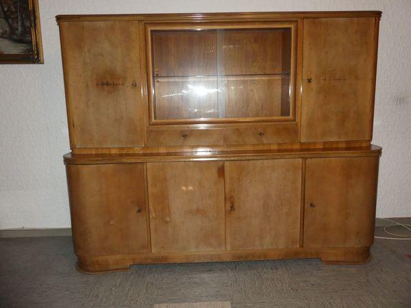 Wohnzimmerschrank 1950er Jahre Vitrinenschrank Holzschrank