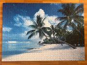 Vier aufgeklebte Puzzles Palmenstrand Unterwasserwelt
