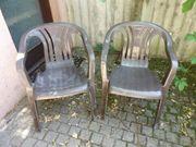 2x Gartenstühle braun Kunststoff