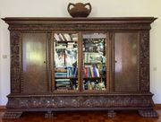 Herrenzimmer Antik Wohnzimmerschrank Bücherschrank Vitrine
