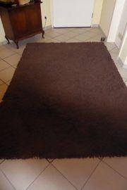 Teppich - dunkelbraun in Schlaufenoptik