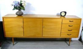 50er 60er Sideboard lange Anrichte, Esche 3-trg + Schubladen Mid Century Modern