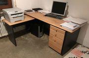 Schreibtisch Maschinentisch Roll-Container Buche massiv