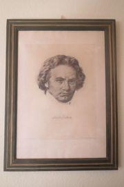 Lithografie auf Bütten Beethoven Hanfstaengl