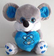 Maus - Plüschmaus mit Herz - blau