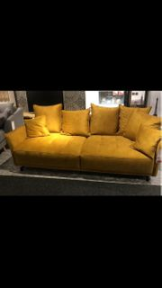 Velours Leder Sofa