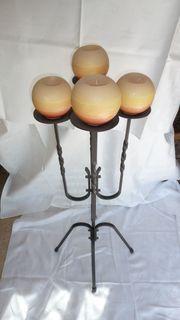 Kerzenständer schmiedeeisen 4-flammig schwarz groß