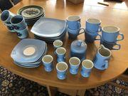 NEU blaues 6-teiliges Kaffeeservice Eierbecher