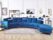 Sofa Samtstoff dunkelblau rund ROTUNDE