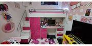Hochbett mit Matratze Kleiderschrank Schreibtisch