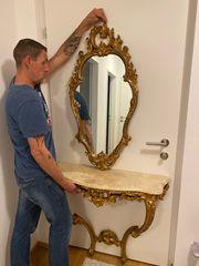 Wandtisch mit Marmorplatte und Spiegel