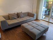 Boconcept Sofa mit Hocker grau