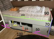 Bett mit Verstauraum 90x70x200 Komfortmatratze