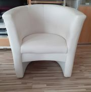 Weißer Sessel aus Kunstleder