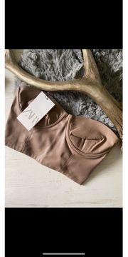 Zara Leder Crop Top