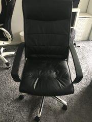 schwarzer Leder Bürodrehstuhl